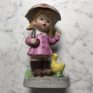 Antique Royal Crown Girl Holding Umbrella Figurine